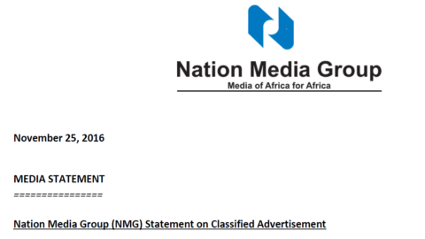 Nation Media Group (NMG) Statement on Classified Advertisement