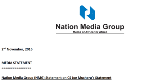 Nation Media Group (NMG) Statement on CS Joe Mucheru's Statement