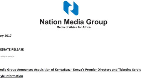 Nation Media Group Announces Acquisition of KenyaBuzz