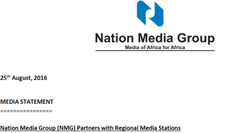 Nation Media Group (NMG) Partners with Regional Media Stations