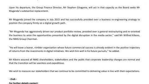 NMG Media Statement on GCEO Resignation