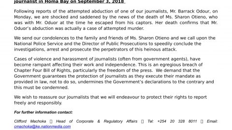 Nation Media Group (NMG) Statement on the attempted abduction of Nation journalist in Homa Bay