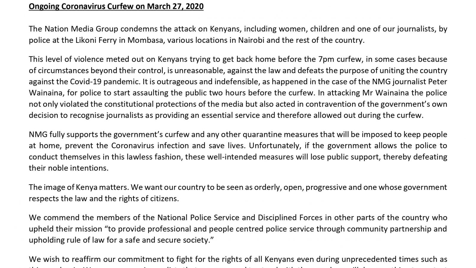 Nation Media Group (NMG) Statement Condemning the Police Brutality on Kenyans and Journalists during the Ongoing Coronavirus Curfew on March 27, 2020